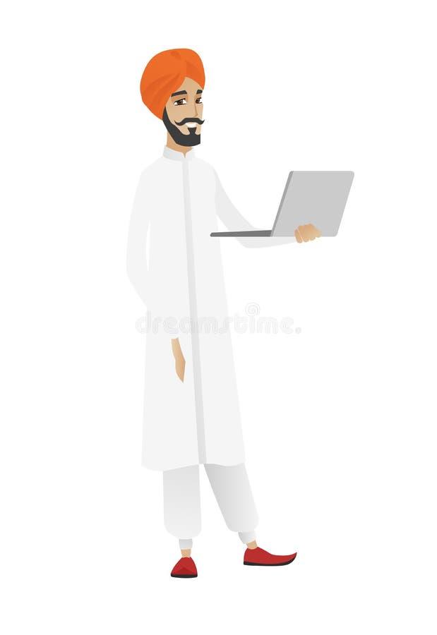 Uomo d'affari facendo uso dell'illustrazione di vettore del computer portatile royalty illustrazione gratis