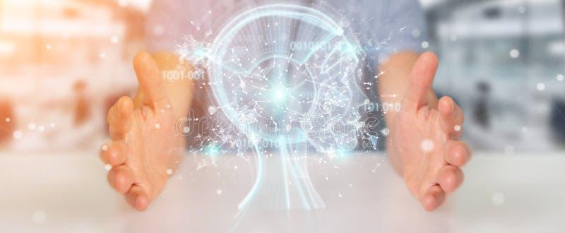 Uomo d'affari facendo uso dell'interfaccia digitale 3D r di intelligenza artificiale illustrazione vettoriale