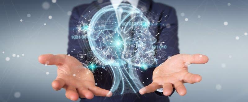 Uomo d'affari facendo uso dell'interfaccia digitale 3D r di intelligenza artificiale royalty illustrazione gratis