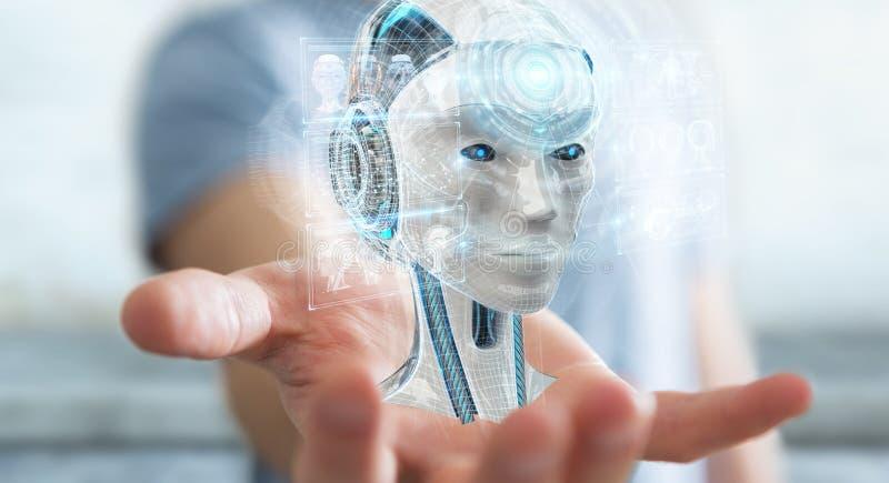 Uomo d'affari facendo uso dell'interfaccia digitale 3D r di intelligenza artificiale illustrazione di stock