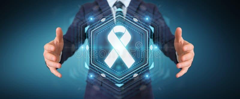 Uomo d'affari facendo uso della rappresentazione digitale dell'interfaccia 3D del cancro del nastro illustrazione di stock