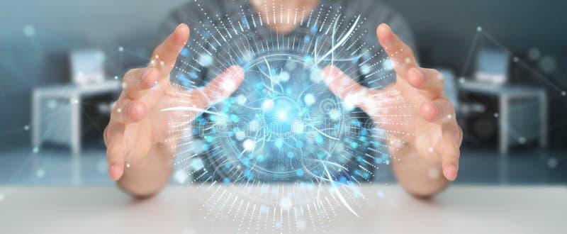 Uomo d'affari facendo uso della rappresentazione digitale dell'ologramma 3D di sorveglianza dell'occhio illustrazione vettoriale