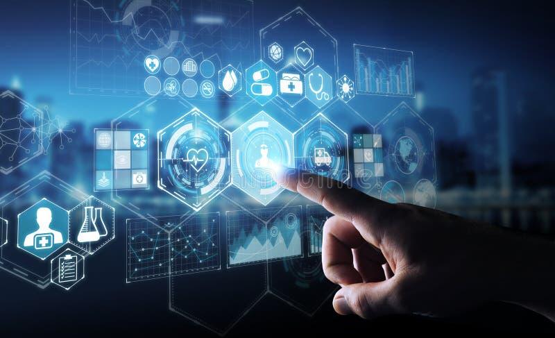 Uomo d'affari facendo uso della rappresentazione medica digitale dell'interfaccia 3D illustrazione vettoriale