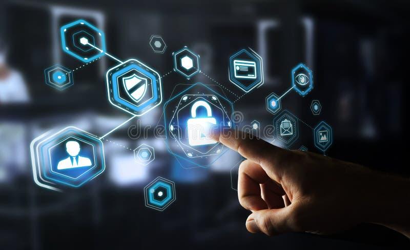 Uomo d'affari facendo uso di antivirus per bloccare una rappresentazione cyber di attacco 3D illustrazione di stock