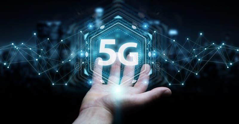 Uomo d'affari facendo uso 5G della rappresentazione dell'interfaccia di rete 3D royalty illustrazione gratis