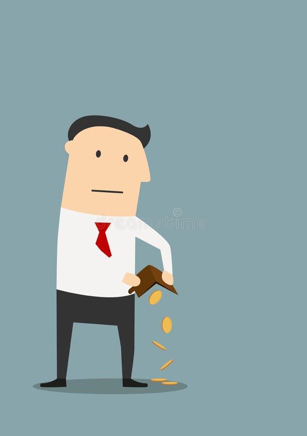 Uomo d'affari fallimento con il portafoglio vuoto royalty illustrazione gratis