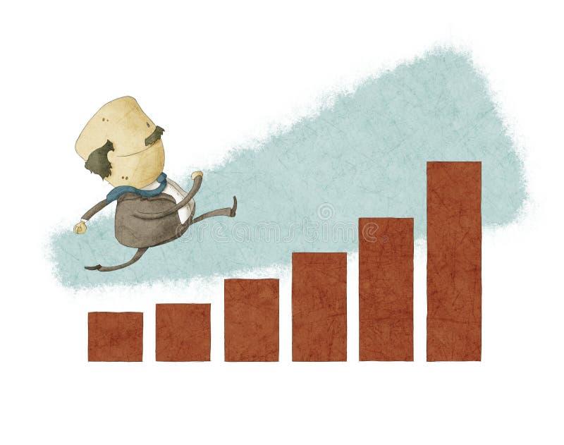 Uomo d'affari fatto funzionare in un grafico a strisce illustrazione vettoriale