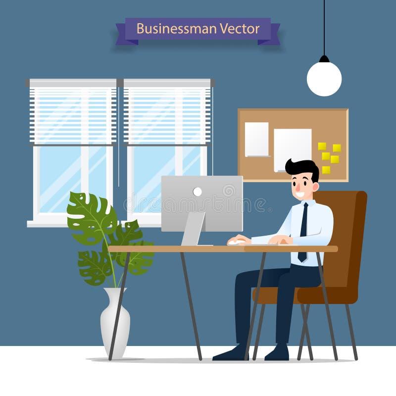 Uomo d'affari felice che lavora ad un personal computer, sedentesi su una sedia di cuoio marrone dietro la scrivania Stile piano  royalty illustrazione gratis