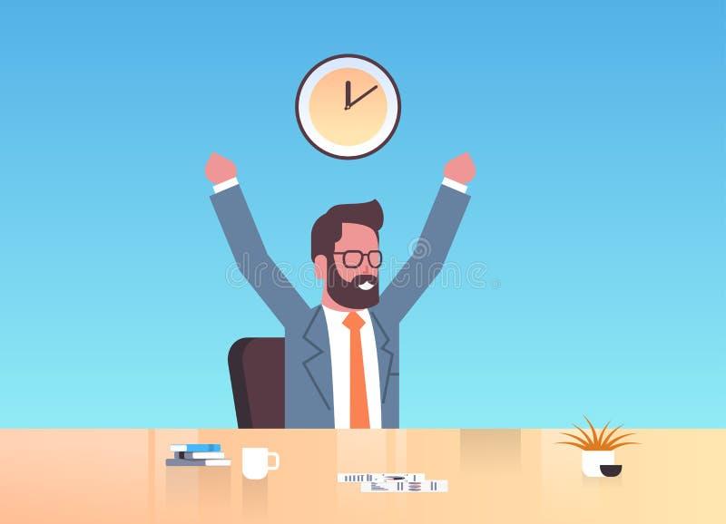 Uomo d'affari felice che solleva le mani che esprimono seduta allegra dell'uomo di affari di concetto della gestione di tempo eff illustrazione vettoriale
