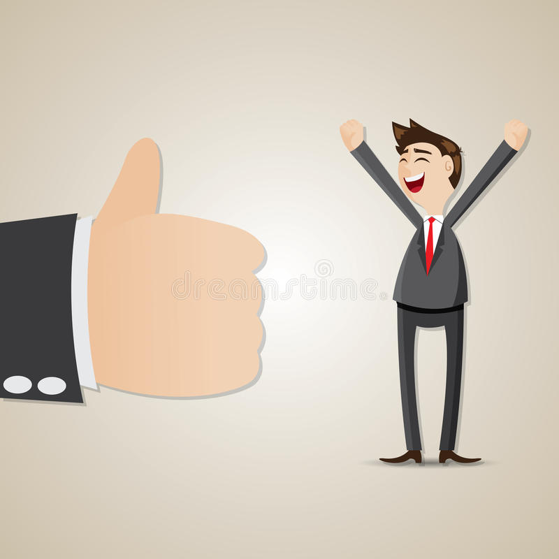 Uomo d'affari felice del fumetto con il pollice su illustrazione di stock