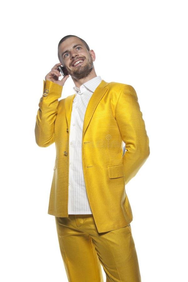 Uomo d'affari felice, uomo di affari isolato sui precedenti fotografie stock