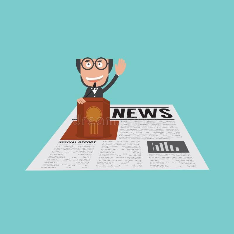 Uomo d'affari felice e riuscito Speaking On Podium nelle notizie finanziarie illustrazione di stock