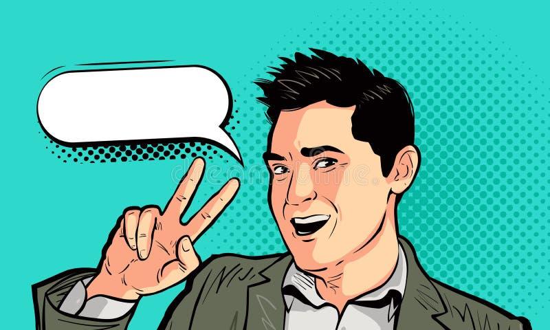 Uomo d'affari felice o giovane nel retro stile comico di Pop art Vittoria, successo, concetto di vittoria Illustrazione di vettor illustrazione vettoriale