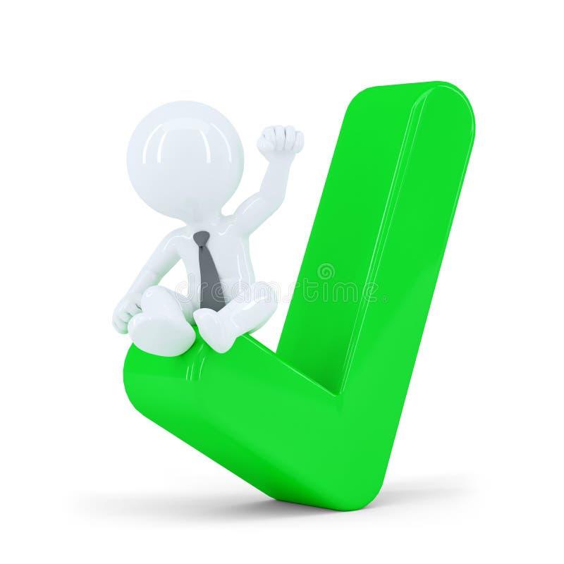 Uomo d'affari felice sopra il segno di spunta verde. Concetto di affari illustrazione vettoriale