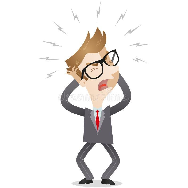 Uomo d'affari frustrato che grida illustrazione vettoriale