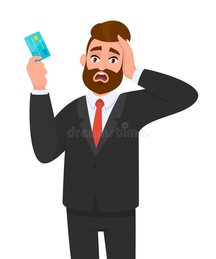 Uomo d'affari Frustrato che mostra carta di credito, debito, ATM Uomino stressato infelice che tiene la mano sulla testa Disegno  royalty illustrazione gratis