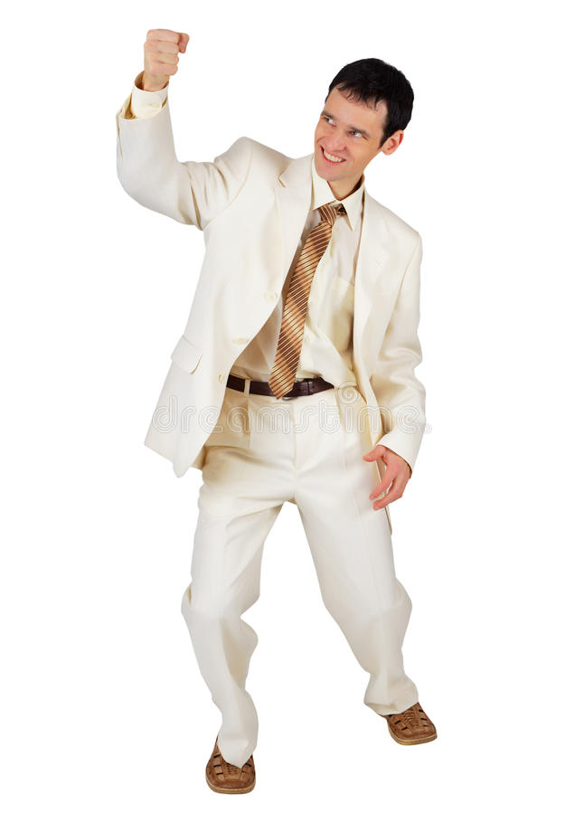 Uomo d'affari giulivo isolato su bianco fotografia stock