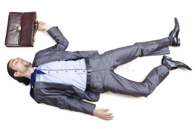 Uomo d'affari guasto sul pavimento immagini stock libere da diritti