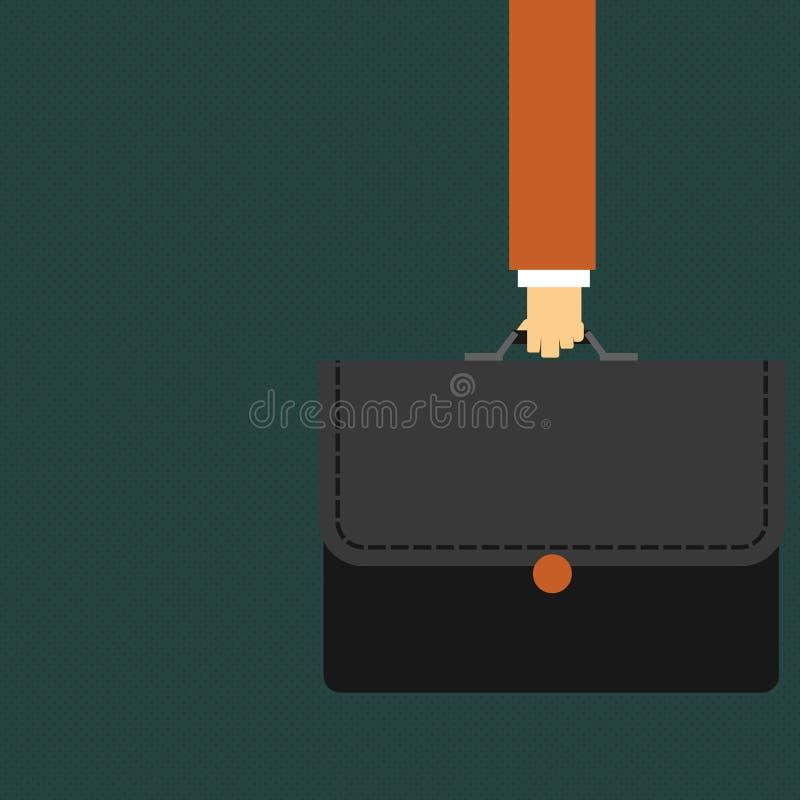 Uomo d'affari Hand Holding e cartella di trasporto della cartella di colore con l'applique del punto su Flip Cover creativo illustrazione di stock