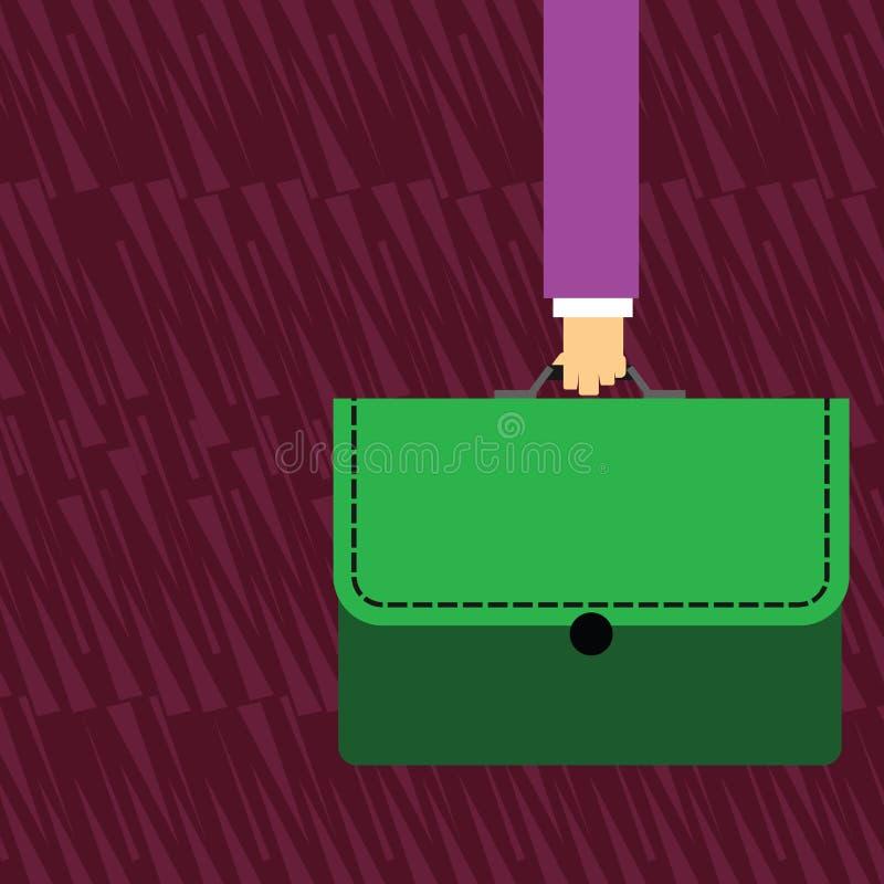 Uomo d'affari Hand Holding e cartella di trasporto della cartella di colore con l'applique del punto su Flip Cover creativo royalty illustrazione gratis