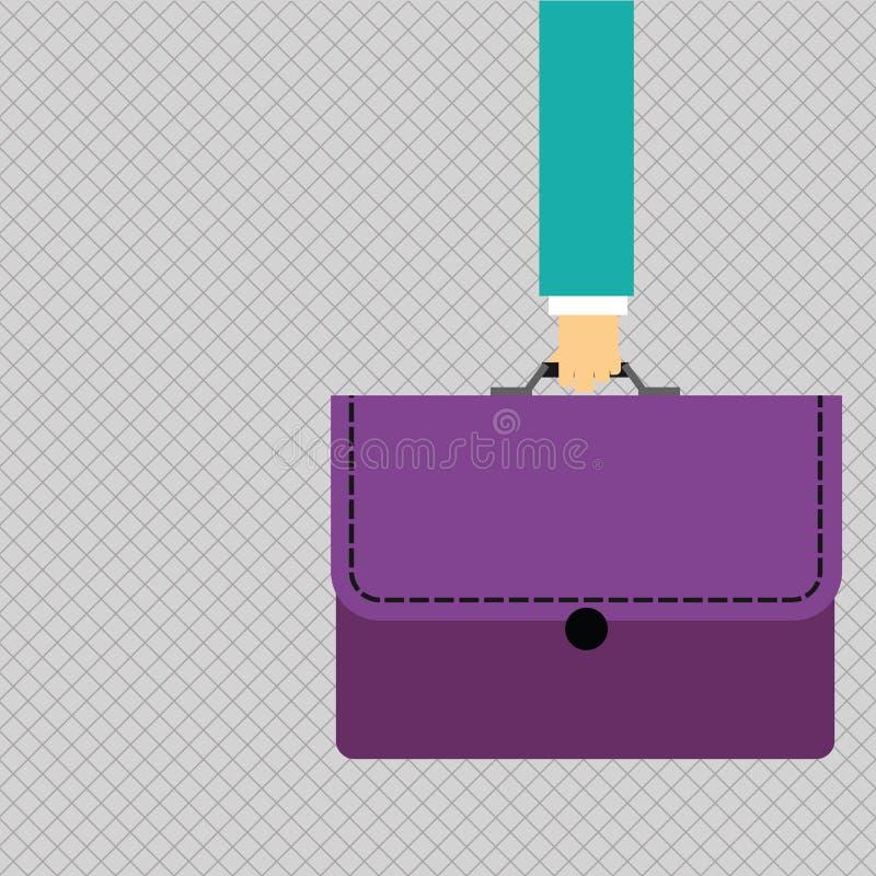 Uomo d'affari Hand Holding e cartella di trasporto della cartella di colore con l'applique del punto su Flip Cover creativo illustrazione vettoriale