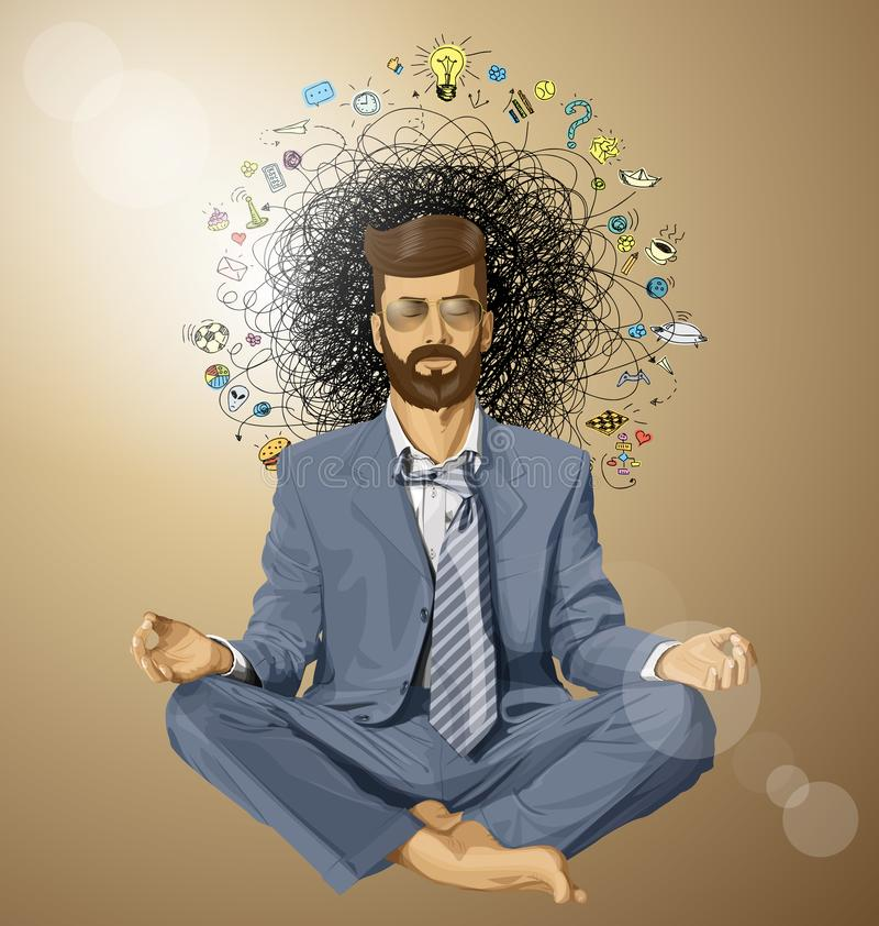 Uomo d'affari Hipster nell'ORIGINALE di Lotus Pose Meditating illustrazione vettoriale