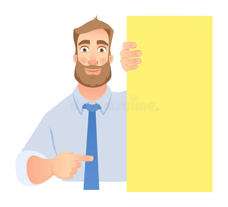 Uomo d'affari Holding Blank Signboard illustrazione vettoriale
