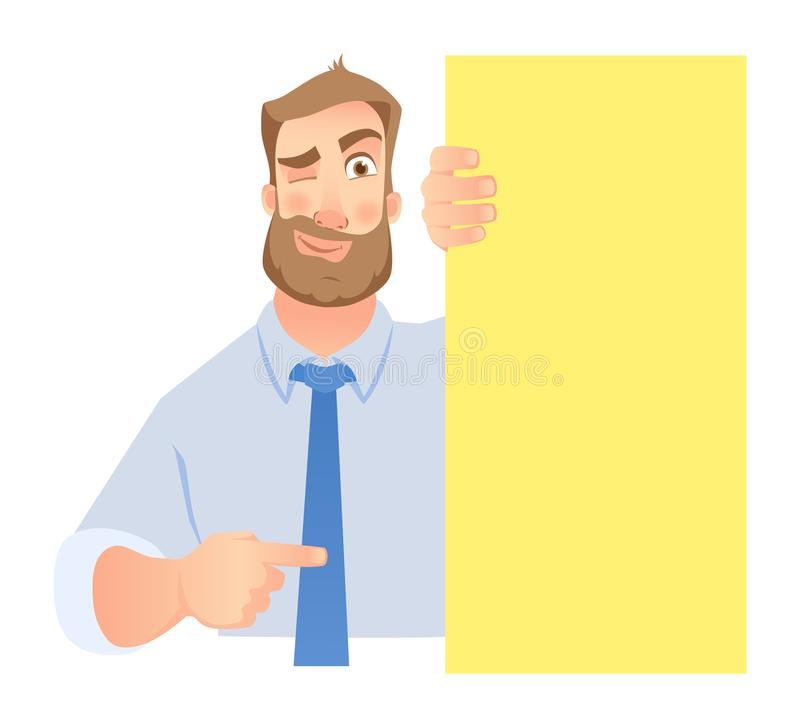 Uomo d'affari Holding Blank Signboard royalty illustrazione gratis