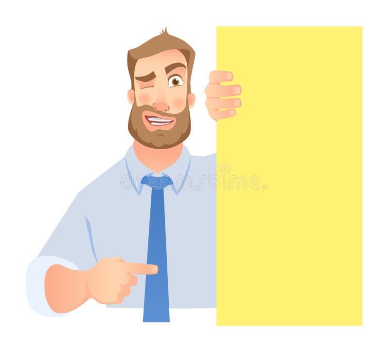 Uomo d'affari Holding Blank Signboard illustrazione di stock
