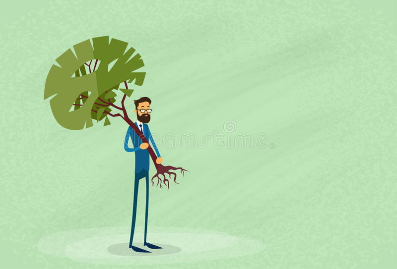 Uomo d'affari Holding Green Tree ambientale illustrazione di stock