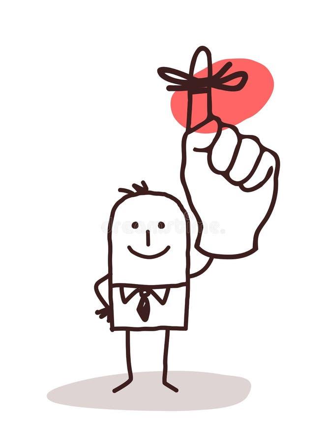 Uomo d'affari Holding Up Finger con il nastro di ricordo illustrazione vettoriale
