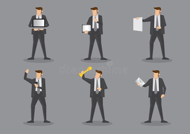 Uomo d'affari Holding Work Equipment e articoli per ufficio illustrazione di stock