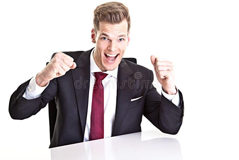 Uomo d'affari incoraggiante fotografia stock