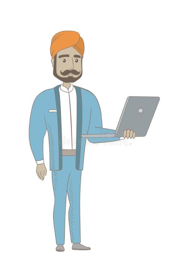 Uomo d'affari indù facendo uso del computer portatile royalty illustrazione gratis