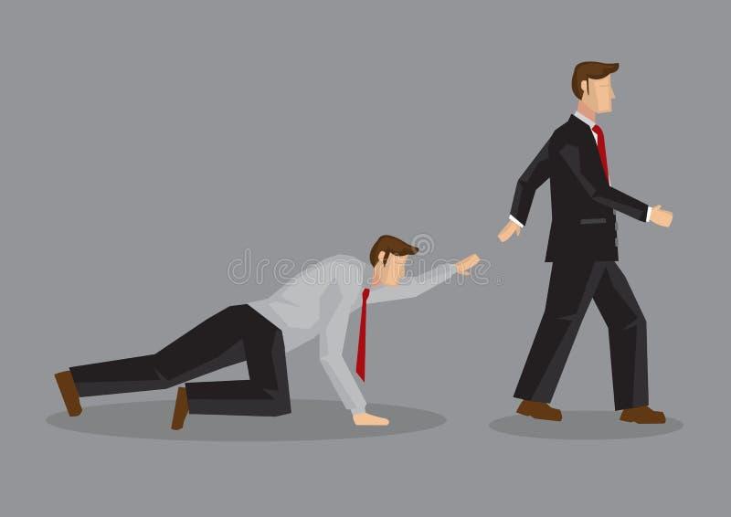 Uomo d'affari indifferente ad altri che richiede il vettore I del fumetto di aiuto illustrazione vettoriale