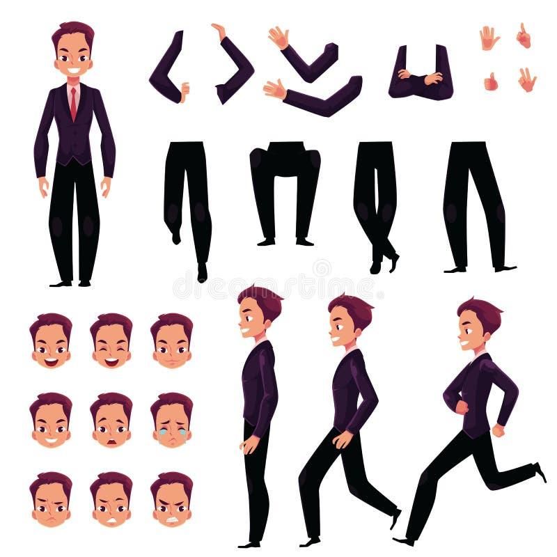 Uomo d'affari, insieme della creazione del carattere dell'uomo con differenti pose, gesti, fronti illustrazione vettoriale