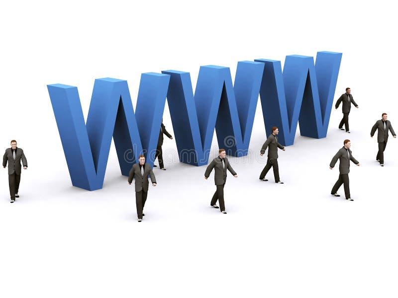 Uomo d'affari intorno a WWW illustrazione vettoriale