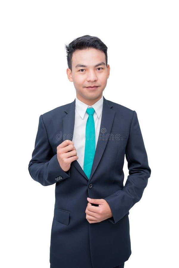 Uomo d'affari isolato sopra fondo bianco fotografia stock