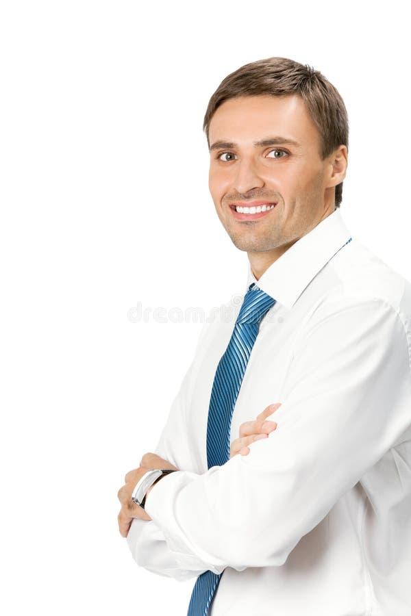 Uomo d'affari, isolato su bianco immagini stock