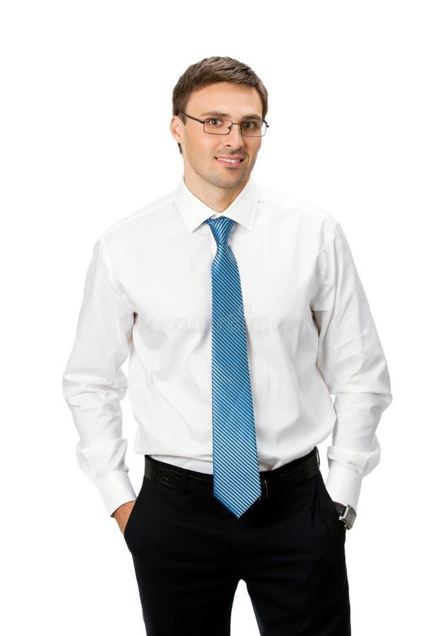 Uomo d'affari, isolato su bianco fotografie stock