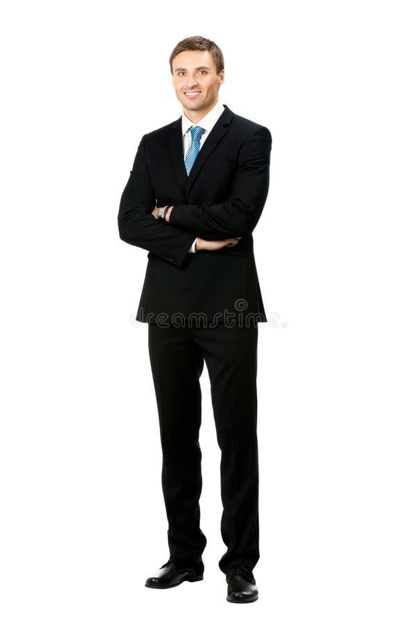 Uomo d'affari, isolato su bianco fotografie stock libere da diritti