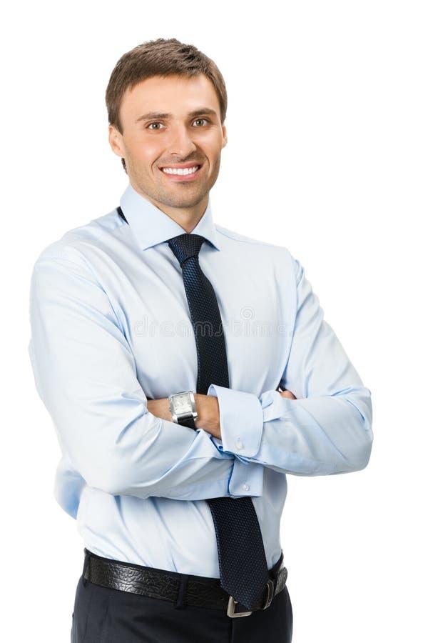 Uomo d'affari, isolato su bianco fotografia stock