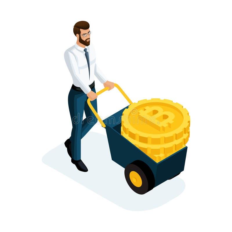 Uomo d'affari isometrico che porta grande valuta cripto delle monete di oro, concetto di Bitcoin dei soldi di risparmio Illustraz illustrazione di stock