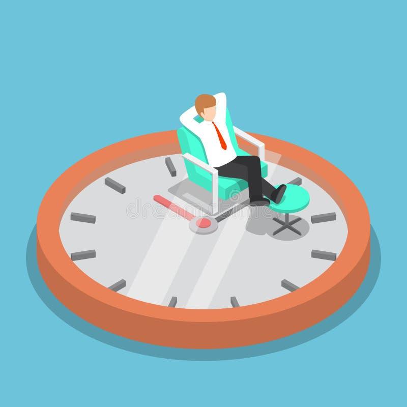 Uomo d'affari isometrico che si rilassa sul sofà con l'orologio illustrazione vettoriale