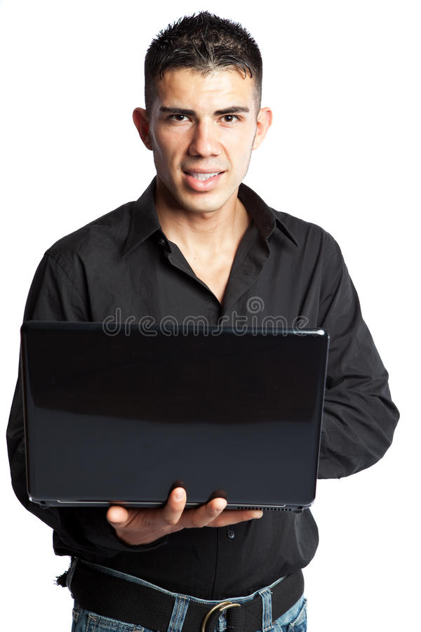 Uomo d'affari ispanico con il computer portatile fotografie stock