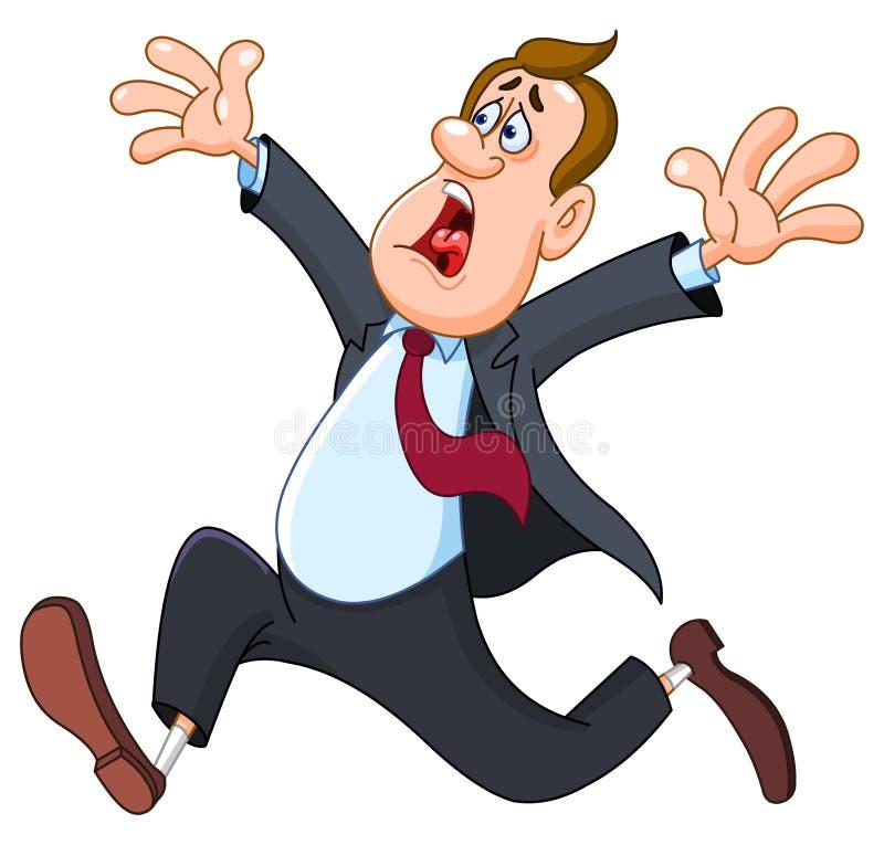 Uomo d'affari lasci prendere dal panicoare illustrazione vettoriale