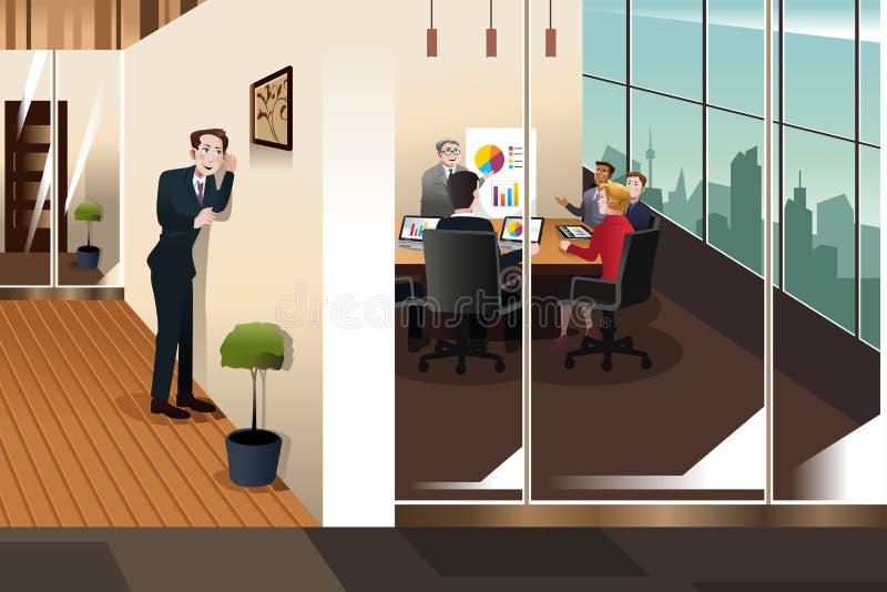 Uomo d'affari Listening alla conversazione in una sala riunioni royalty illustrazione gratis
