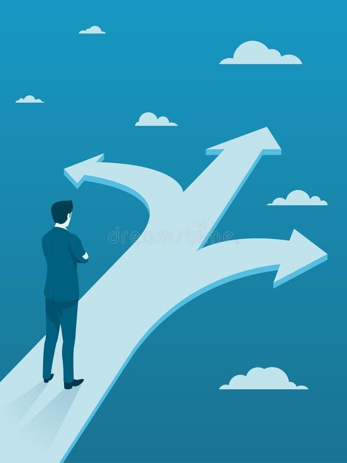 Uomo d'affari Making Decision su tre modi diversi illustrazione di stock