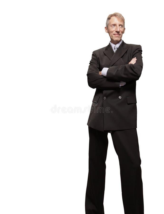 Uomo d'affari maturo isolato su bianco fotografie stock libere da diritti