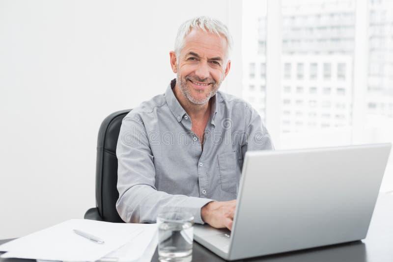 Uomo d'affari maturo sorridente facendo uso del computer portatile allo scrittorio in ufficio fotografie stock